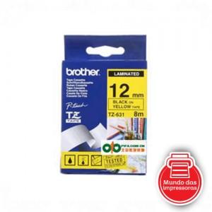 FITA BROTHER - TZ631 (12MM - PRETO/AMARELO)